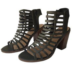 Soda Strappy Gladiator Block Heel Sandals Green 7